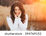 Stock photo beautiful sunny portrait of a girl wearing white clothes face laughing woman outdoors with copy 394769152