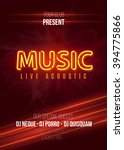 neon music live acoustic party... | Shutterstock .eps vector #394775866