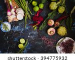 purple and green veggies and... | Shutterstock . vector #394775932