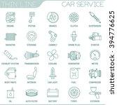 thin line car service vector...