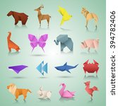 geometric paper animals | Shutterstock .eps vector #394782406