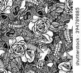 vector black and white skull... | Shutterstock .eps vector #394789885