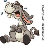 Crying Cartoon Donkey. Vector...