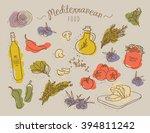 mediterranean food set | Shutterstock .eps vector #394811242