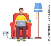 man in casual outfit sitting... | Shutterstock .eps vector #394820302