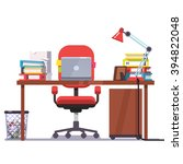 home or office desk with... | Shutterstock .eps vector #394822048