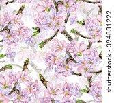 sakura flowers. seamless  hand... | Shutterstock . vector #394831222