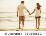 happy romantic couple on the... | Shutterstock . vector #394840882