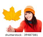 Girl in autumn orange maple leaf. Fall discount. Autumn sale. - stock photo