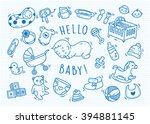 Stock vector baby toys and accessories doodle 394881145