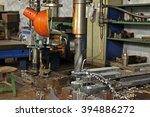 the lathe and spiral steel... | Shutterstock . vector #394886272