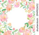 circular watercolor frame.... | Shutterstock . vector #394902652