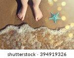 legs of children stand on the... | Shutterstock . vector #394919326