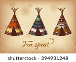 set of 3 colored hand drawing... | Shutterstock .eps vector #394931248