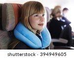 beautiful female passenger on... | Shutterstock . vector #394949605