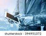 double exposure of two... | Shutterstock . vector #394951372