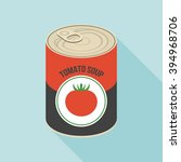 tomato soup canned  flat design | Shutterstock .eps vector #394968706