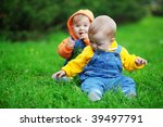 cute twins babies sitting on... | Shutterstock . vector #39497791