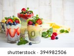 layered berry and chia seeds... | Shutterstock . vector #394982506