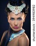 beautiful young woman posing... | Shutterstock . vector #394983982