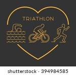 gold vector figures triathlete. ... | Shutterstock .eps vector #394984585