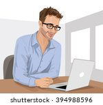 young man with his laptop in... | Shutterstock .eps vector #394988596