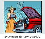 sad woman driver near a broken...   Shutterstock .eps vector #394998472