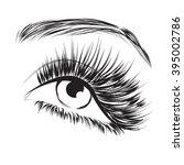 lovely eye with long eyelashes...   Shutterstock .eps vector #395002786