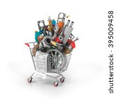 auto parts in the trolley. auto ... | Shutterstock . vector #395009458
