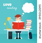 reading boy. read books concept.... | Shutterstock .eps vector #395012095