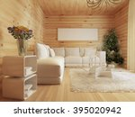 Living Room Interior In A Log...