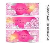 happy holi horizontal flyer... | Shutterstock . vector #395030542