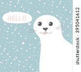 cute seal. vector illustration... | Shutterstock .eps vector #395041612