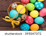 Easter Eggs In Basket With...