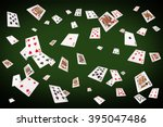 playing cards flying at the... | Shutterstock . vector #395047486