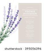 vintage card with lavender...   Shutterstock .eps vector #395056396