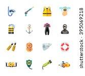 sixteen cute diving icons | Shutterstock .eps vector #395069218