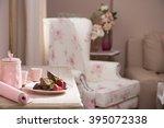 peace of tasty banana cake on...   Shutterstock . vector #395072338