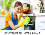 cleaning concept. woman washes... | Shutterstock . vector #395112175