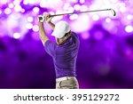 golf player in a purple shirt...   Shutterstock . vector #395129272