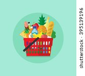shopping basket with grocery... | Shutterstock .eps vector #395139196