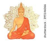 sitting buddha over ornate...   Shutterstock .eps vector #395146066