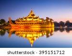karaweik palace at night ... | Shutterstock . vector #395151712