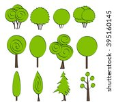 set of 12 abstract tree icons.... | Shutterstock .eps vector #395160145