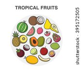 tropical fruits in a circle... | Shutterstock .eps vector #395172505