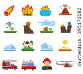 natural disasters flat icons... | Shutterstock .eps vector #395173282