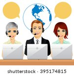 happy call center agents... | Shutterstock .eps vector #395174815