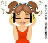 little cute girl enjoys...   Shutterstock .eps vector #395174845