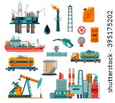 set of oil industry production... | Shutterstock .eps vector #395175202
