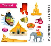 thailand travel set with buddha ... | Shutterstock .eps vector #395175556